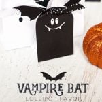 Vampire Bat Lollipop Favor Free Printable for Halloween