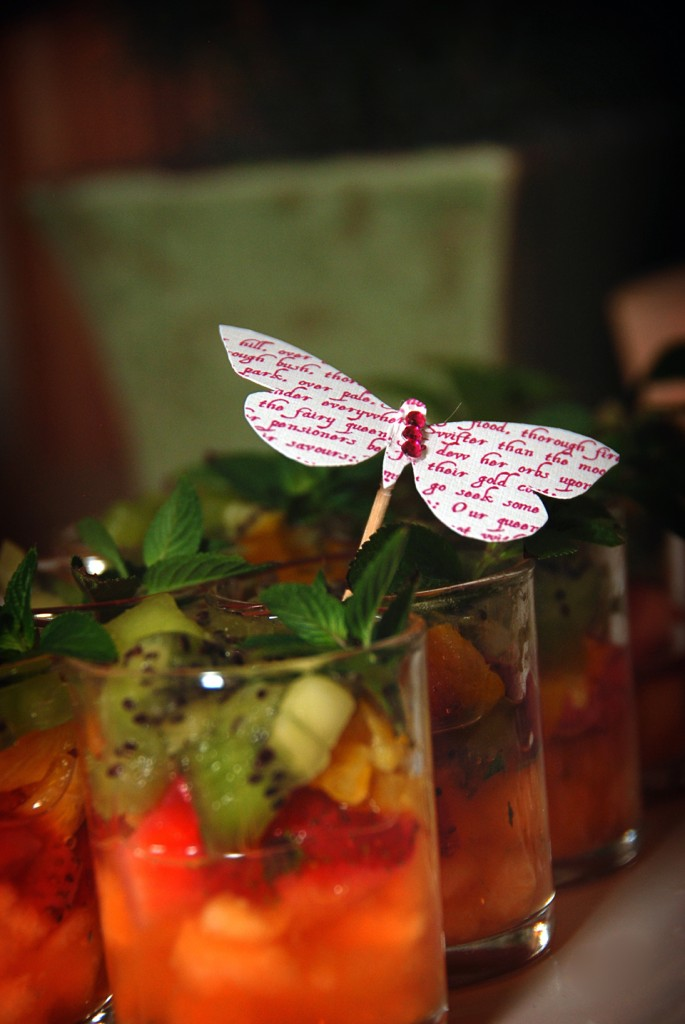 honey minted fruit shots