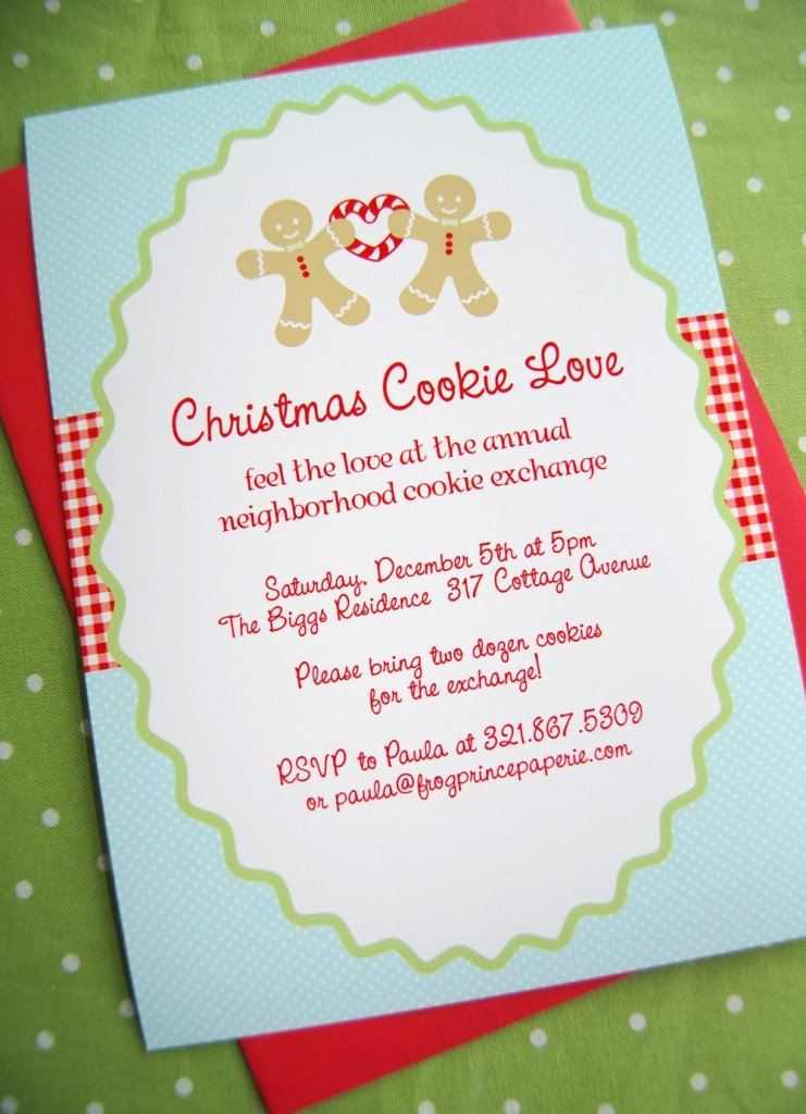 New to Shop Gingerbread Christmas Cookie Love Frog Prince Paperie – Christmas Cookie Party Invitations