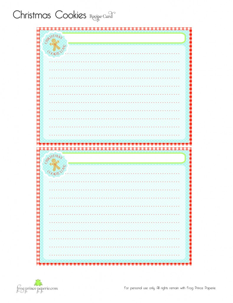 Free Gingerbread Christmas Cookies Printable Recipe Card
