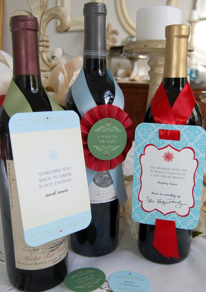 freebie witty christmas wine tags frog prince paperie