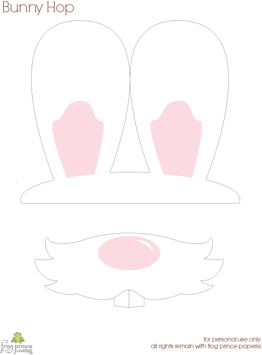 Free printable bunny hop bunny ears and nose photo props for Easter hat template printable