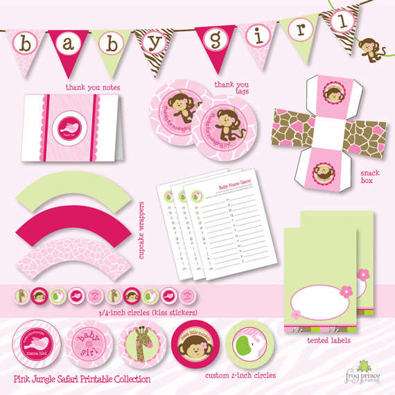 Amazing Baby Girl Jungle Theme Baby Shower Part - 11: Thanks Again To Carolyn For Sharing This Special Party. The Wild Pink Jungle  Baby Shower Printable Set Is Now Available In My Shop!