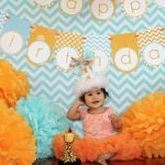 {Real Party} Aqua and Orange Chevron Giraffe First Birthday Party