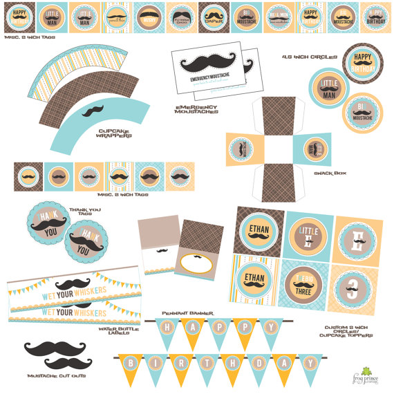 Mustache Bash Baby Shower or Birthday Party Set- DIY