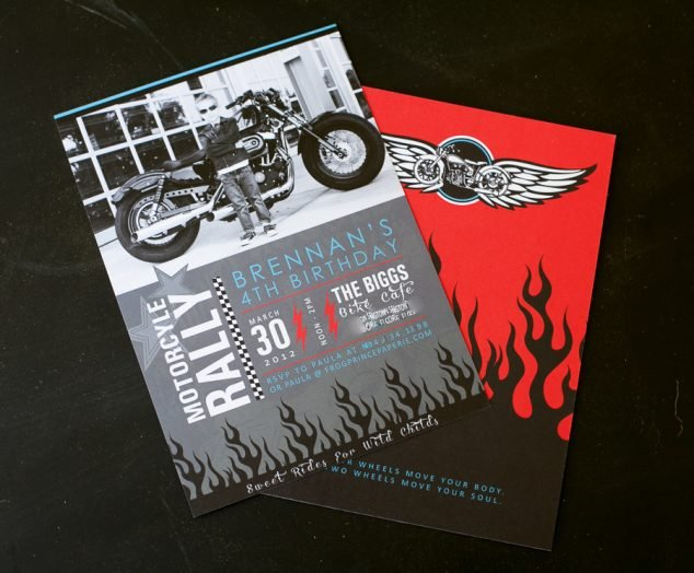 motorcycle birthday party invitation