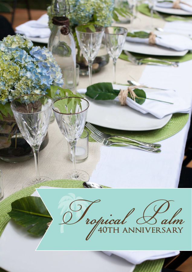 Tropical palm tree anniversary party inspiration