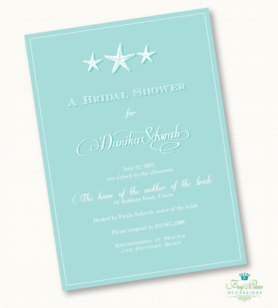 Starfish Spa Bridal Shower Invitation - DIY Printable