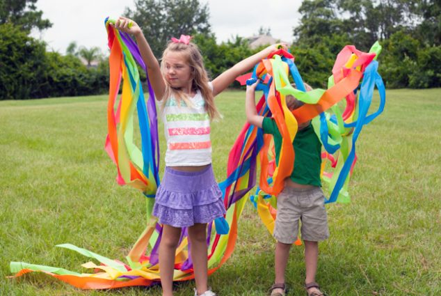 rainbow streamers made from plastic table covers