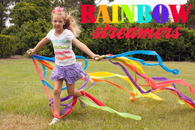 Design Dazzle Summer Camp: Rainbow streamers made from plastic table covers!