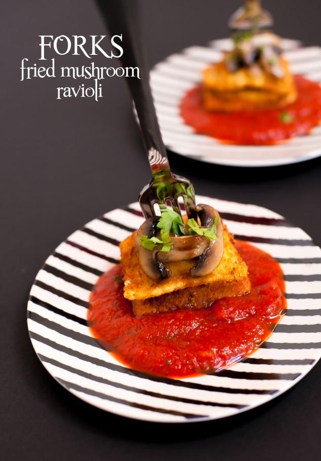 forks fried mushroom ravioli