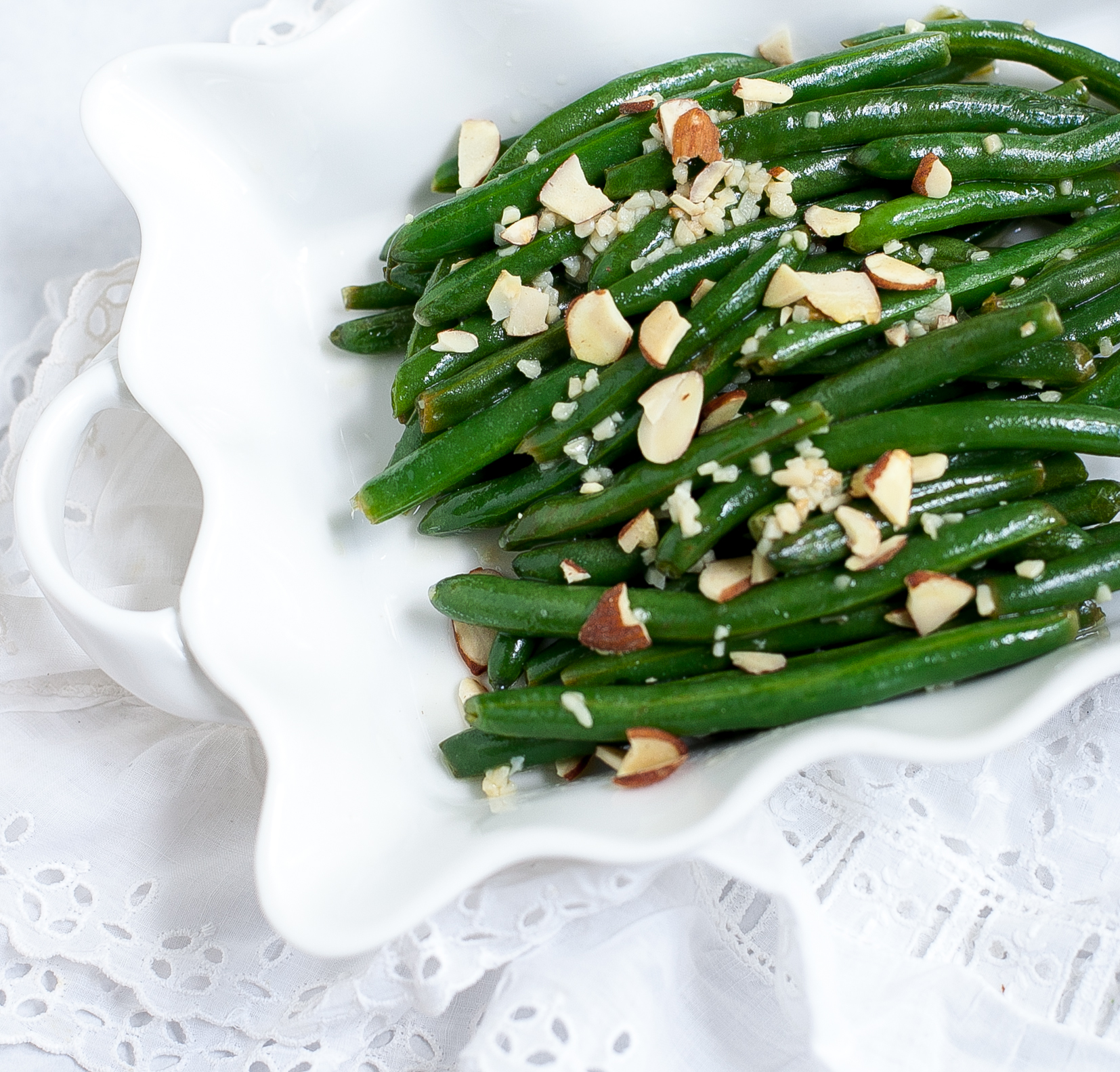 gluten-free holiday side - almond green beans
