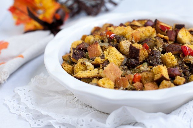 gluten free thanksgiving - andoille stuffing