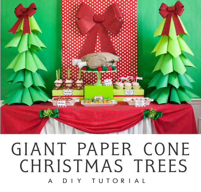 Giant Ombre Paper Cone Christmas Treesa DIY Tutorial and How-To