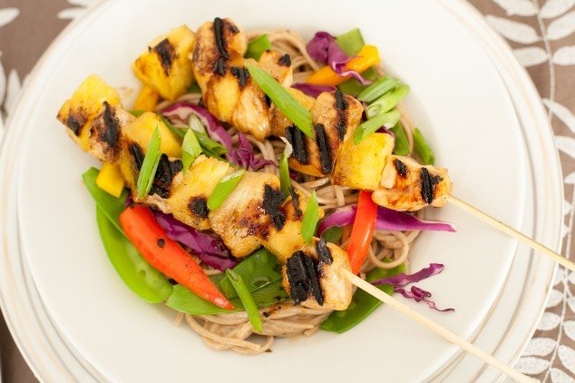chicken pineapple teriyaki with soba noodles