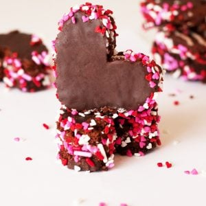 Sprinkled Snack Cake Hearts for Valentine's Day