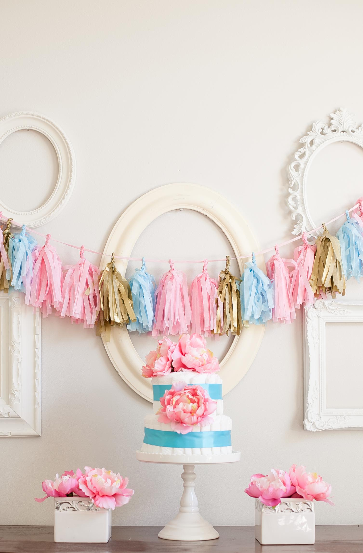 Baby Shower Diaper Cakes and Tissue Tassel Garlands Frog Prince
