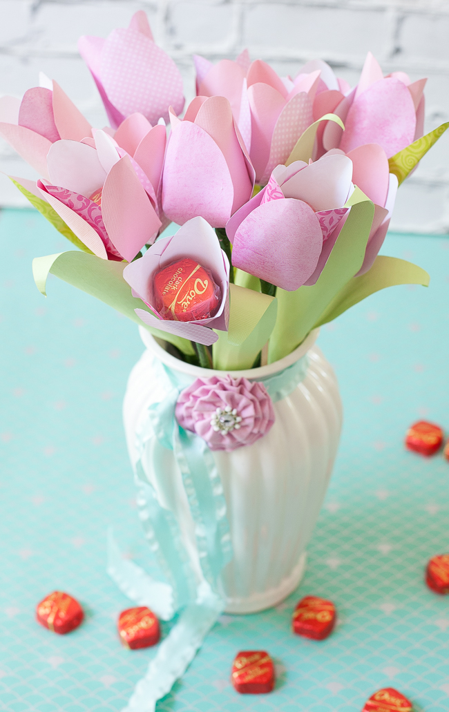Dove Mothers Day DIY paper flower tulip bouquet in vase