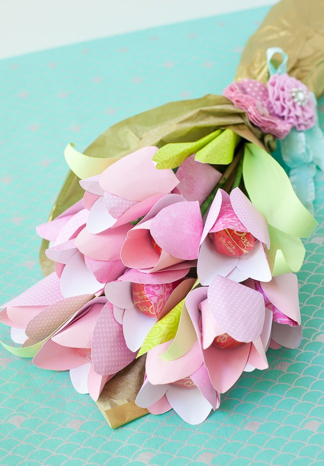 Dove Mothers Day DIY paper flower tulip bouquet templates