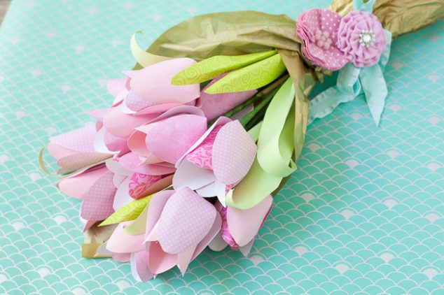 dove mothers day DIY paper flower tulip bouquet tutorial