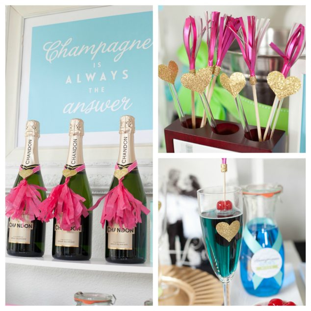 Champagne Bar Engagement Party Glasses and Stirrers #wedding