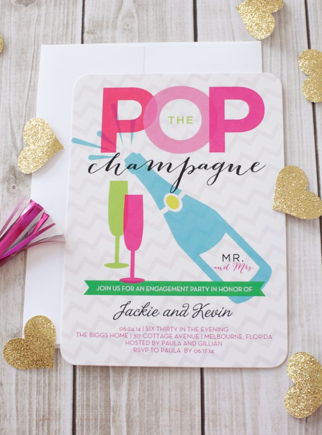 Champagne Bar Engagement Party Invitation #wedding