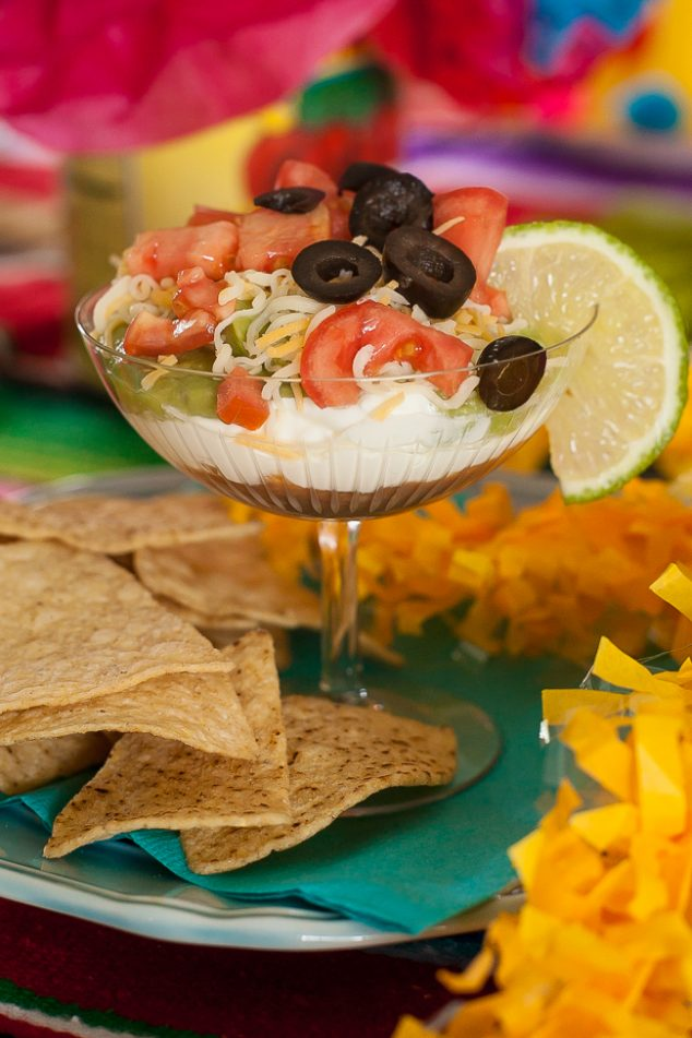 cinco de mayo kids party seven layer dip