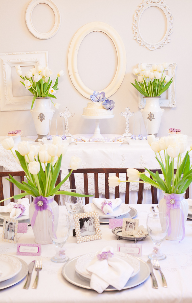 First communion party to celebrate a religious milestone - Decoration table communion fille ...