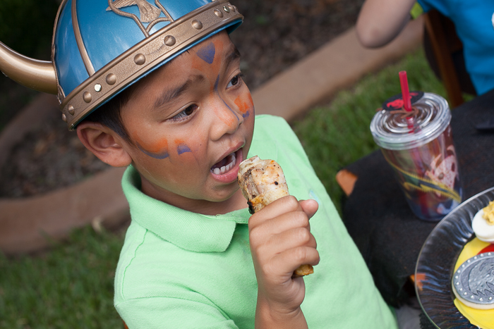 how to train your dragon party viking chicken eats