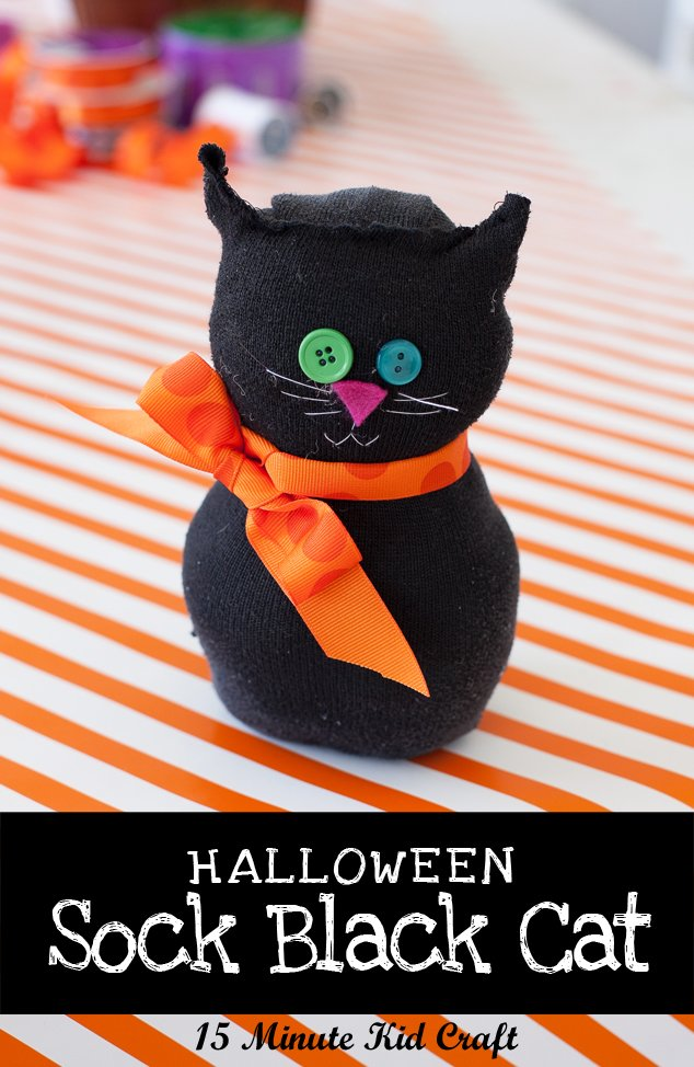 Kids 39 15 minute halloween craft black sock cat frog for Cat crafts for toddlers