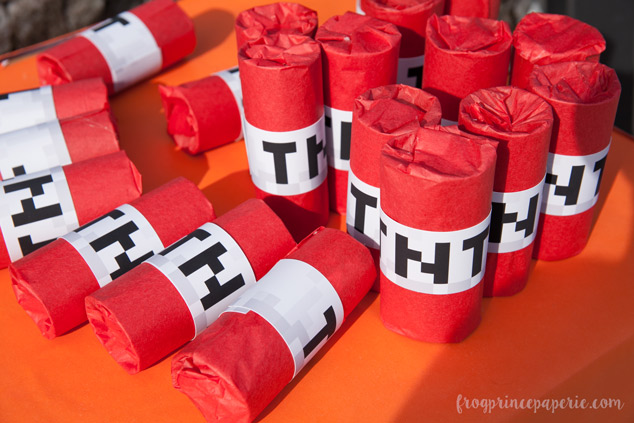 Trunk or treat ideas for your Minecraft fans! Wrapped rolls stuffed with candy make for great TNT sticks for trunk or treaters.