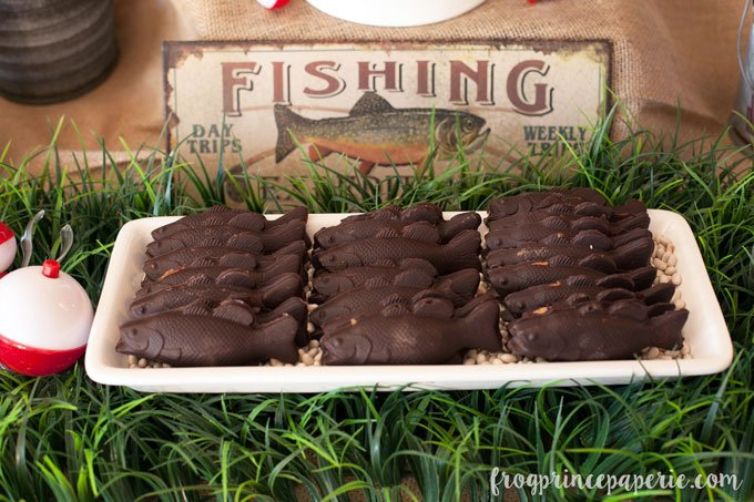 Fishing baby shower chocolate fish