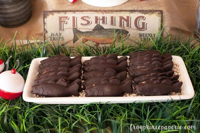 Fishing baby shower chocolate fish