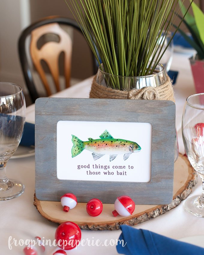Fishing Baby Shower table centerpiece