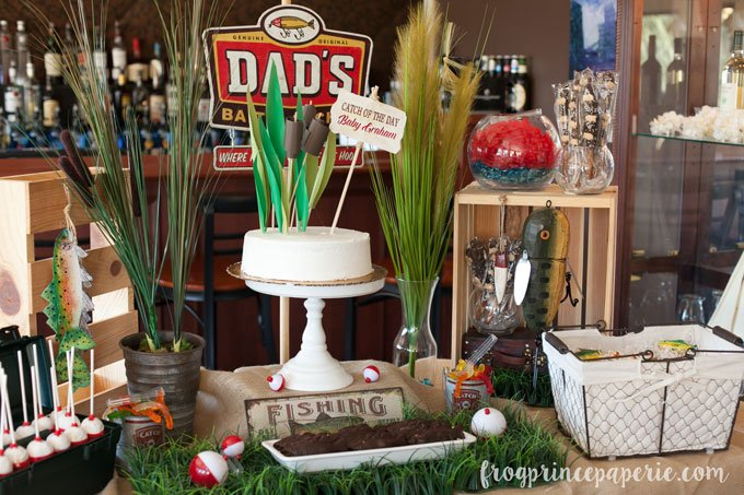 Fishing baby shower dessert table