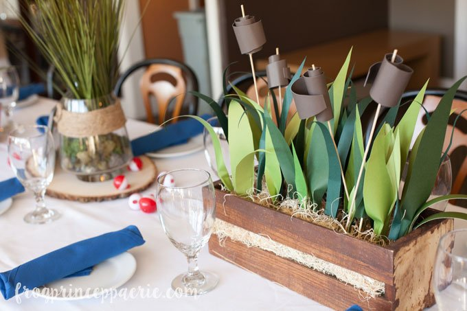 Fishing baby shower reed centerpiece