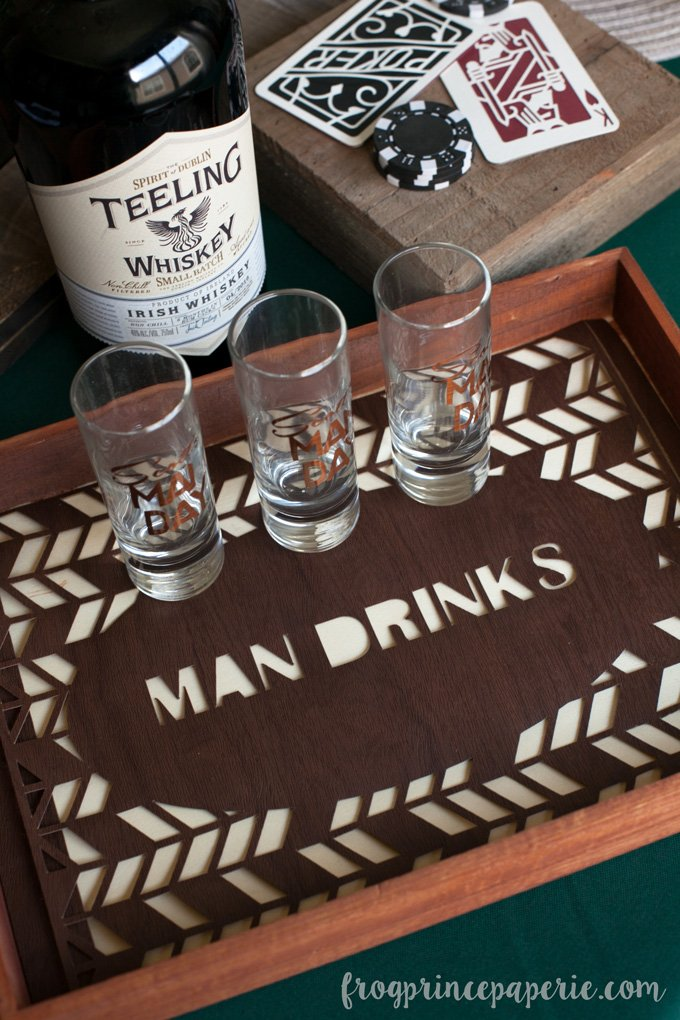 Clean bachelor party ideas - a man drink tray for serving ...whatever you choose!