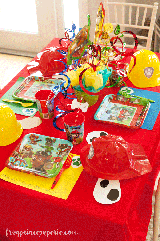 Paw patrol party tablescape ideas for birthdays