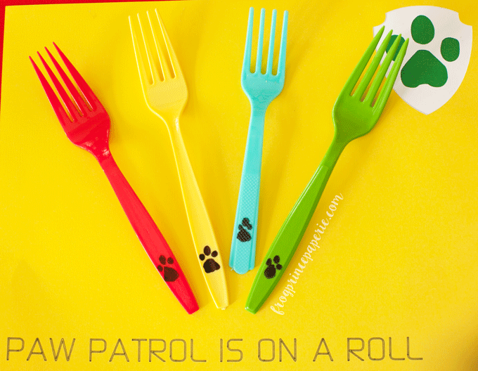 Paw patrol party ideas for place settings--custom forks!