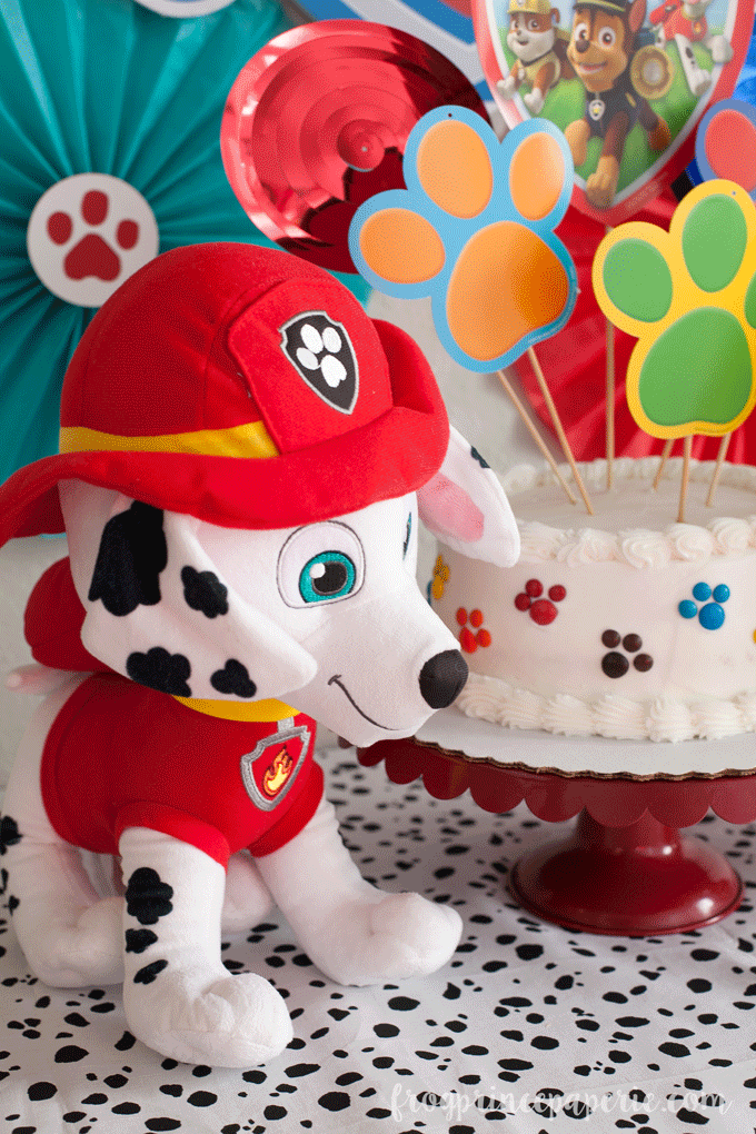Paw patrol party ideas for birthdays - add a plush to decorate with!
