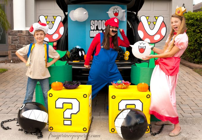 ... have a whole lot of Super Mario character costumes at our disposalu2013they really add a lot to the overall trunk and act as a decoration all their own.  sc 1 st  Frog Prince Paperie & Mario Brothers Trunk or Treat Ideas - Frog Prince Paperie