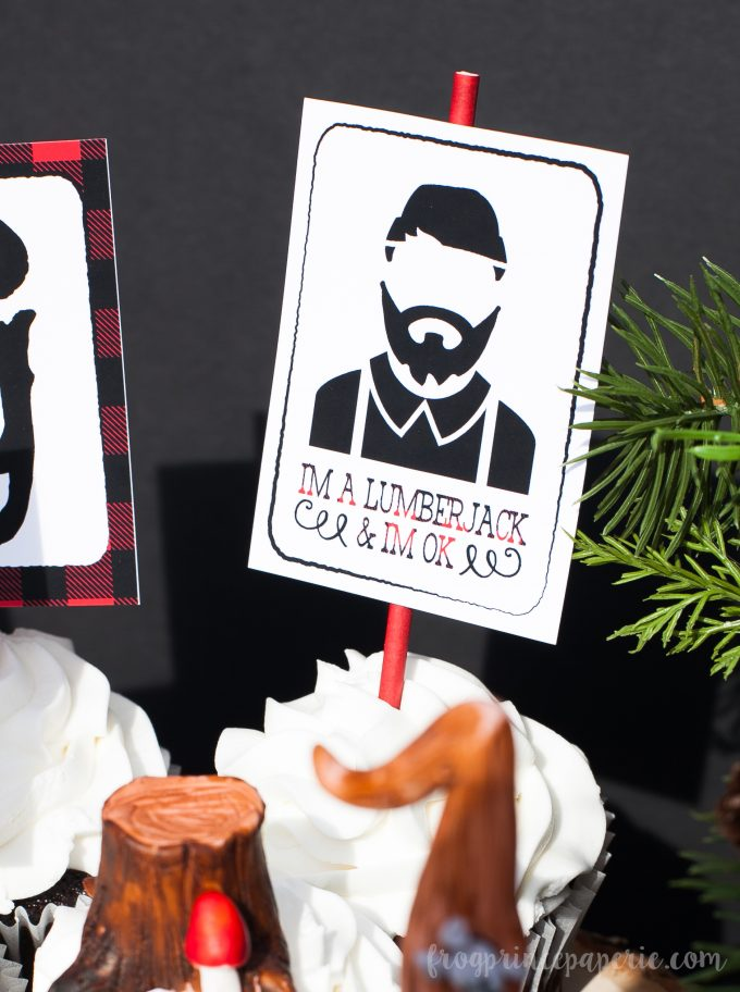 Little lumberjack first birthday party - lumberjack cupcake toppers