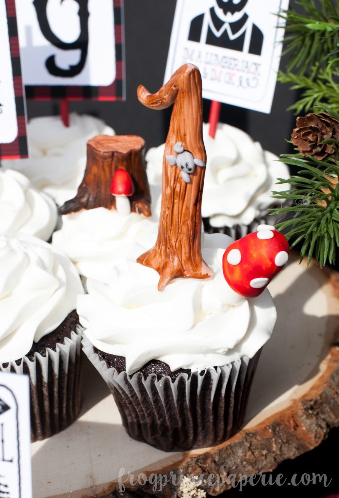 Little lumberjack first birthday party - cupcake toppers