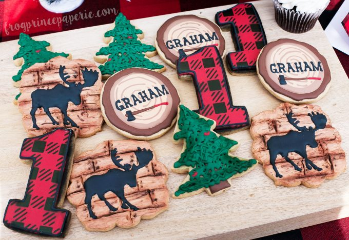 Little lumberjack first birthday party - cookies