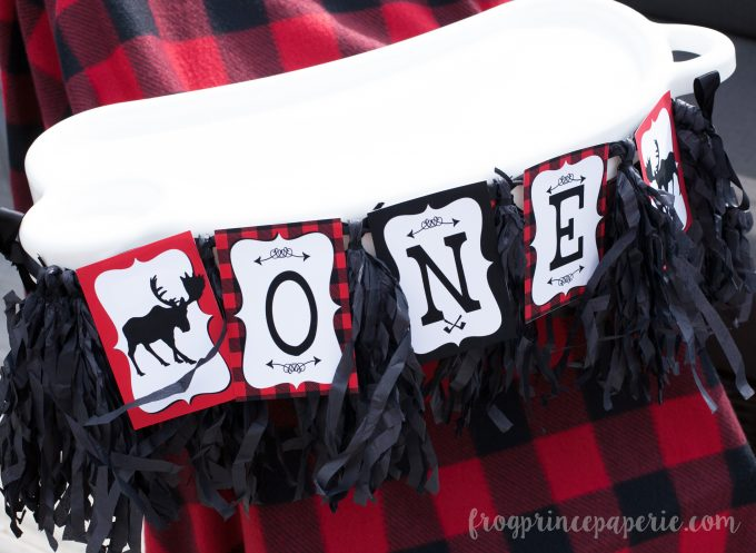 Little lumberjack first birthday party highchair banner