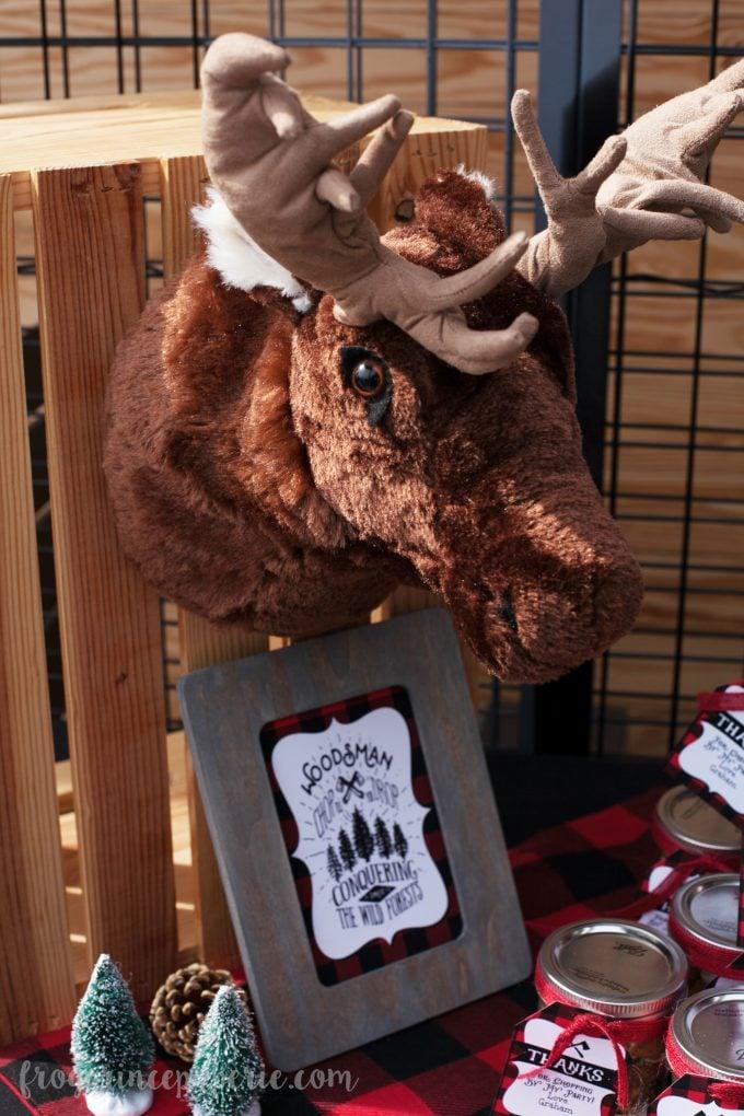 Little lumberjack first birthday party stuffed moose head