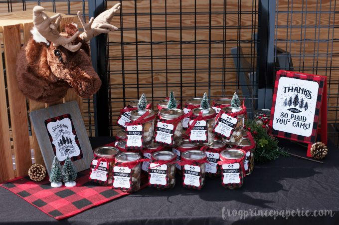 Little lumberjack first birthday party favor table