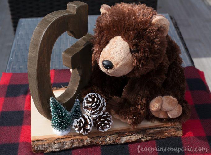 Little lumberjack first birthday party bear centerpiece