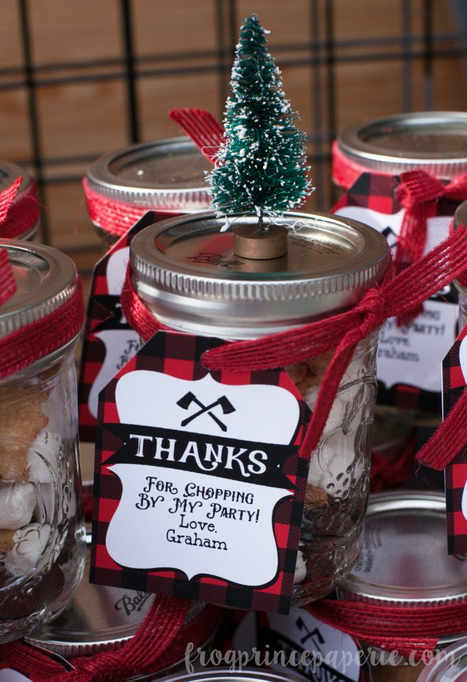 Little lumberjack first birthday party favor- s'mores snack mix