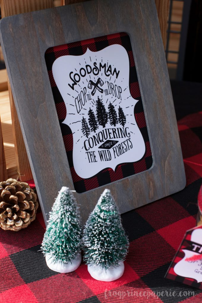 Little lumberjack first birthday party printable party sign